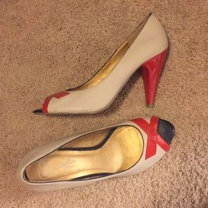 Red and navy heels